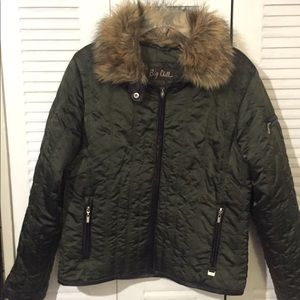Puffer Jacket with Fur Trim
